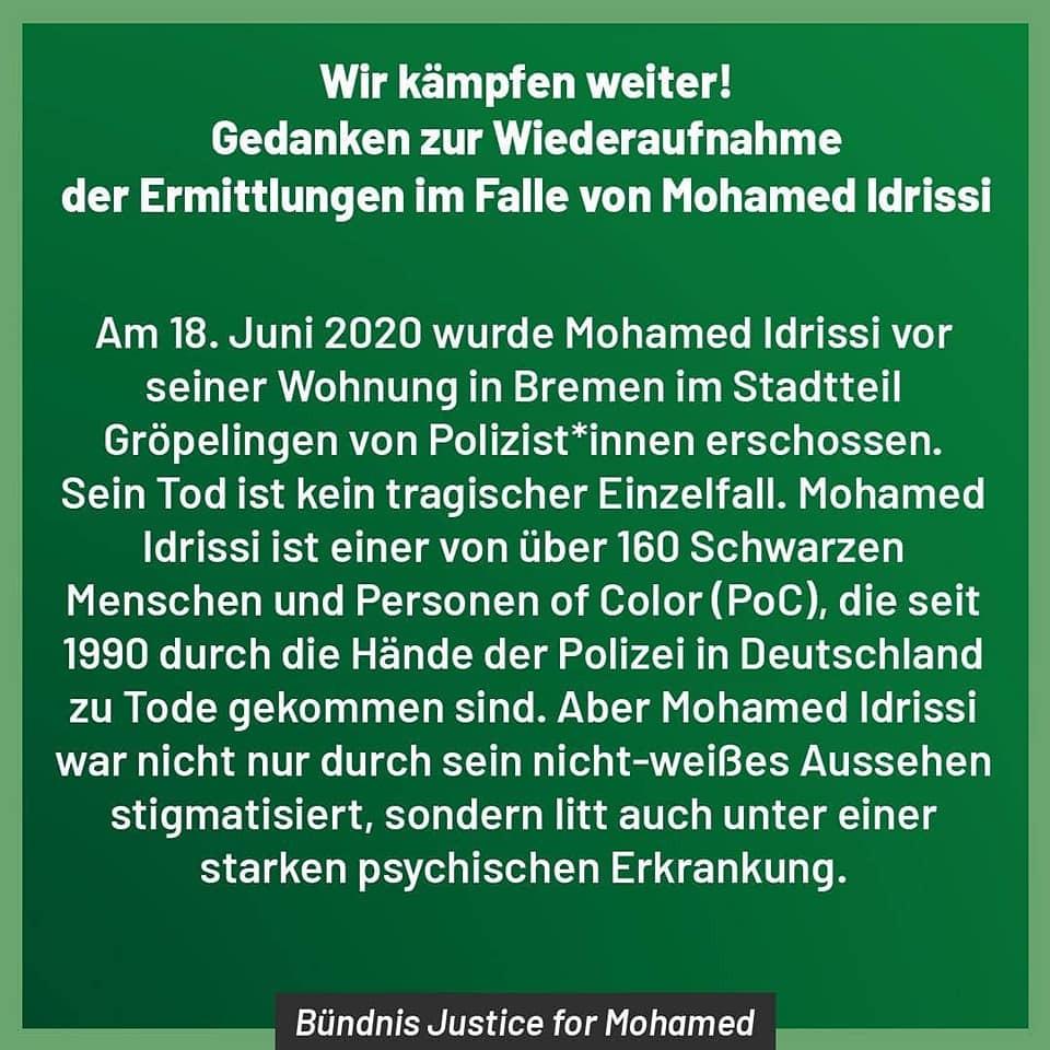Neue Beweise im Fall von Mohamed Idrissi: Das Bündnis Justice for Mohamed veröffentlicht heute, am internationalen Tag gegen Rassismus, eine Stellungnahme zur Wiederaufnahme der Ermittlungen.